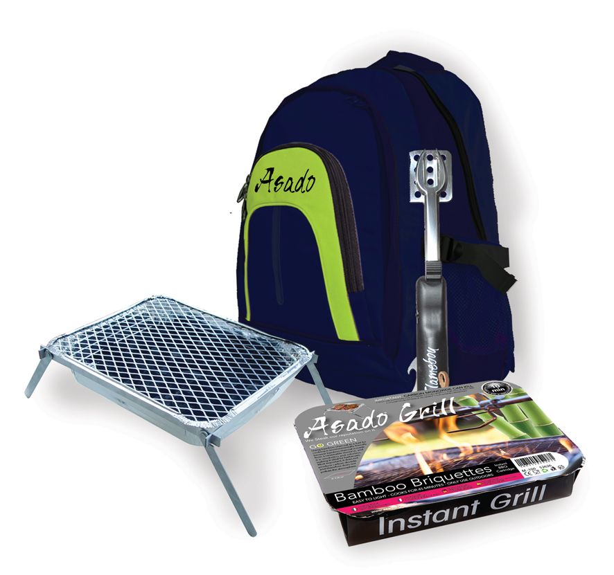 Asado Grill BBQ Thermal Back Pack Kit Multi Tool and Camper Frame